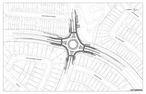 Proposed roundabout at Portobello and Valin